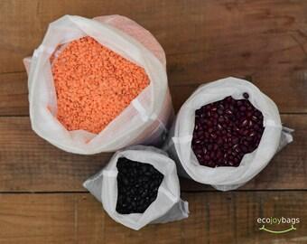 Reusable bulk food bag, Set of 3 small, medium, large reusable grocery bag, ripstop nylon WHITE