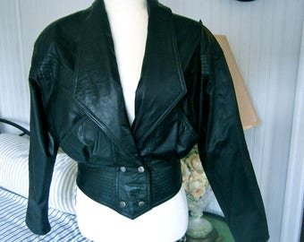 80's Black Leather cropped Jacket