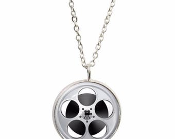Movie Reel Pendant and Silver Plated Necklace