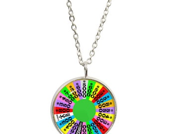 Wheel of Fortune Pendant and Silver Plated Necklace