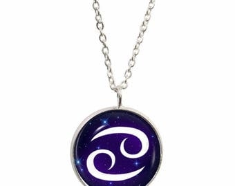 Cancer Symbol Pendant and Silver Plated Necklace