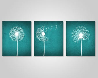 Teal Wall Art Alluring Teal Wall Art  Etsy Decorating Design