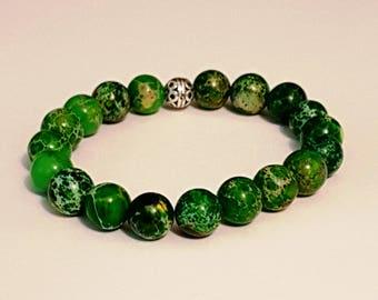 Green Imperial Jasper Gemstone (10mm) Bracelet