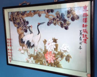 Chinese shell painting beautiful cranes artisan framed