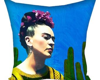 Frida pillow art print canvas, Frida Kahlo self porthait, Mexican artist Frida Kahlo, painting by Frida Kahlo
