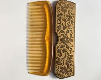 Antique Comb with brass Case, Lumanith Comb With Decorative Brass Case