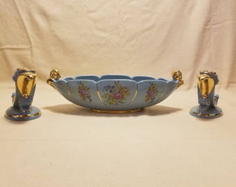 Vintage Abingdon Pottery Blue and Gold Console Bowl and Double Candle Holders