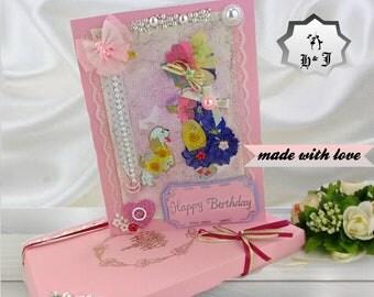 Cute birthday card. Girl with a dog. Princess birthday. Boxed card. Child birthday. Girls room decor. irls birthday gift. Personalised card