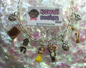Beauty and The Beast Disney Bracelet, Charm Bracelet. Handmade of Polymer Clay. Disney Princess Belle.