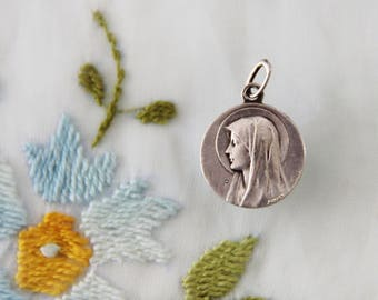 """Vintage Mary Our Lady of Lourdes & Bernadette at the Grotto Medal by """"AP Karo"""" of France - Free Shipping"""