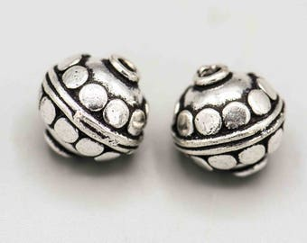 Silver Plated Bali Style Round Beads 13mm Set of 2 SKU-FMB-19