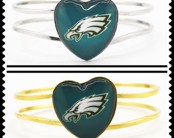 Super Bowl 52 Champions Philadelphia Eagles (Gold or Silver Heart) Cuff Bracelet