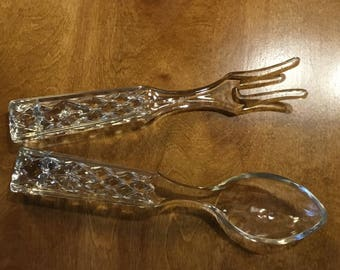Vintage pressed glass salad spoon and fork