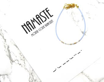 NAMASTE morse code bracelet, yoga bracelet, yoga jewelry, lotus flower jewelry, Buddhism bracelet, minimalist morse code jewelry