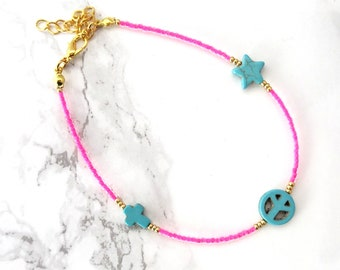Beach anklet bracelet, neon pink minimalist anklet, bohemian anklet, foot jewelry, turquoise beaded anklet, fine jewelry, simple anklet