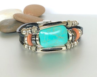 Leather Bracelet,Leather And Turquoise Marble Stone Bracelet, Boho Black Leather Bracelet, Unisex Leather Bracelet, Gift Bracelet, LO83
