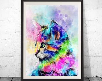 Cat art, cat print, cat painting, cat poster, cat wall decor, animal art, watercolor cat, nursery wall art, watercolor animal, animal print