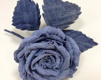 Denim wedding, denim rose, Dress flower, denim buttonhole, denim wedding boutonniere, jeans rose lapel pin, flower lapel pin, gift for mom