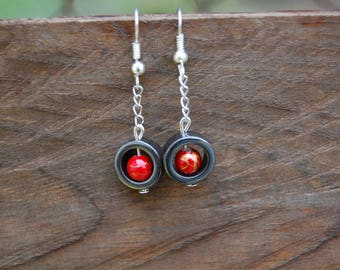 gorgeous hematite earrings red beads