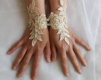 Beaded champagne, lace wedding gloves, costume gloves,dress gloves, free shipping!