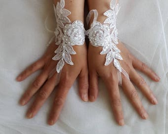 Beaded white, lace wedding gloves, costume gloves,dress gloves, free shipping!