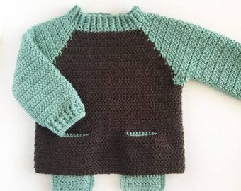 Crochet Two Pocket Baby Sweater