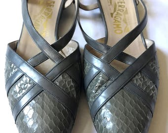 Vintage Salvatore Ferragamo Flats/Ferragamo Shoes/Snakeskin shoes/Vintage shoes