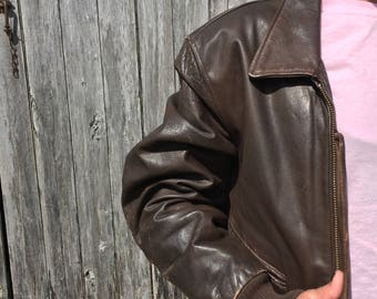 Mens 46 90's bomber leather