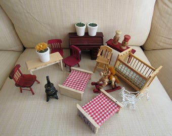 Dollhouse Furniture Lot of 18 Tables Black Wood Stove Miniatures Doll Decor House Photo Props Beds Wood Crib Stroller Rocking Horse Chairs