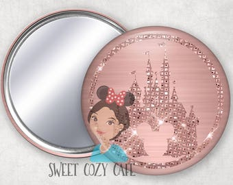 Rose Gold Castle Compact Mirror