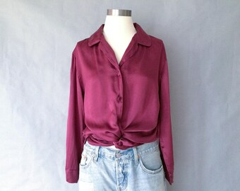 Vintage silk blouse/button down blouse/secretary blouse/shirt/top minimalist women's size S/M