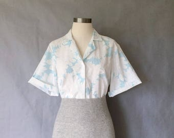 20% off using coupon! vintage blouse/ floral shirt/ button down blouse/ secretary blouse/ women's size M/L Made in USA