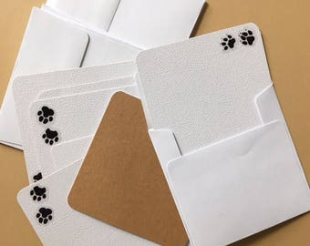 """Handmade Greeting Cards """"Paw Note Cards""""  Package of 8 Greeting Cards"""