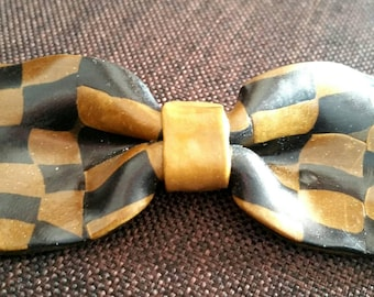 Large Pearl charm polymer bowtie