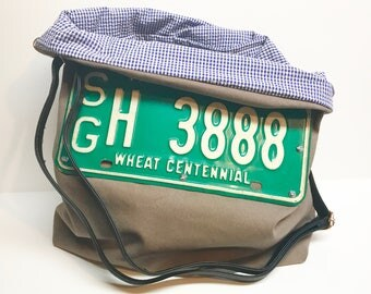 Hand made canvas license plate bag