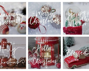 Christmas Photography overlays,  White Christmas Typography, Seasonal photoshop overlay, social media template, hand letter