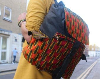African print BackPack - African BackPack - College Rucksack - Festival Bag - African Bag - African Rucksack - Drawstring BackPack