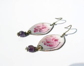 Earrings pink enameled copper connectors