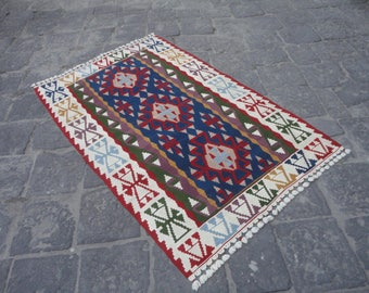Kilim rug,Geometric design oushak rug,Turkish Vintage rug,blue color wool rug,kelim,hand woven rug,flat woven rug,71 x 47 bohemian rug !!!