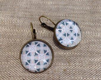Earrings - geometric - rosette - mosaics