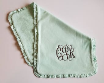 Monogrammed Burp Cloth, Mint ruffle burp cloth, personalized baby gift, Custom burp cloth
