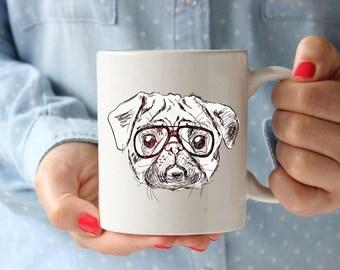 Pug Hipster Coffee Lovers Gift Mug Coffee Mug Office Gift For Kids Cup Kitchen Decor Hipster Animal Hipster Mug Coffee Lover Gift Tea Cup