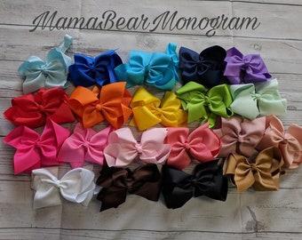 Hair Bows, 6 inch hair bow, Set of 20- Bow Headbands, Headband Bows, Girl Bows, Cheap Bows, Baby Bows, Dollar Bows, Little Girl Bows