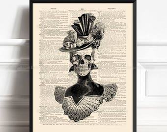 Skull Retro, Victorian Skull , Sister Gift, Dark Goth Gift, Skull Painting, Funny Dorm Poster, Human Anatomy Poster, Book Pages Poster 048