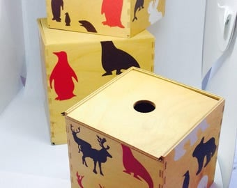Wooden boxes with sliding lids