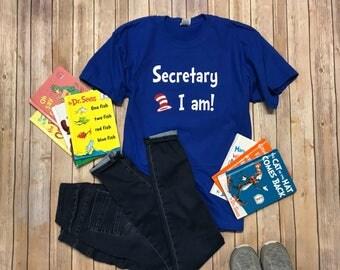 Secretary Dr Seuss shirt School Staff Shirt ANY Occupation PLEASE read item details --- teacher/principal available