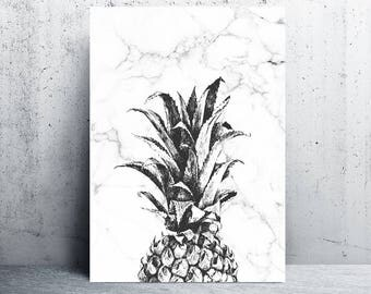 pineapple print, marble decor, marble printable, pineapple wall art, pineapple marble, marble print download, downloadable prints, marble