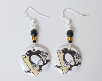 Pittsburgh Penguins  Button Earrings