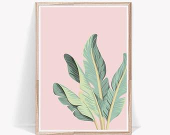 Palm Leaf Print,Tropical Leaves,Wall Art,Leaves,Decor,,Prints,Tropical Decor,Tropical,Pink,Pastel,Green Leaves,Large Wall Art,Art Prints