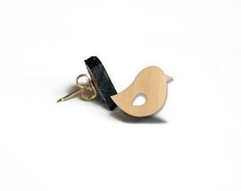 Wooden Bird Stud Earrings